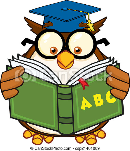 wise owl teacher cartoon mascot character reading a abc book rh canstockphoto com