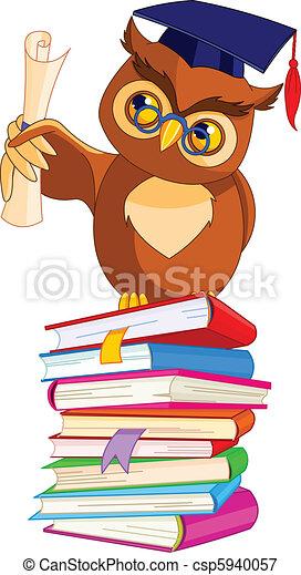 Wise Owl with graduation cap - csp5940057