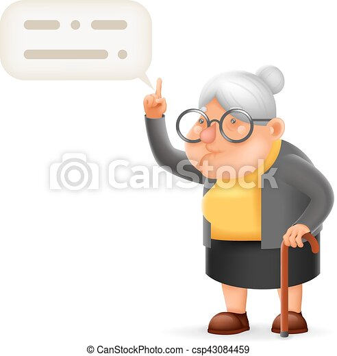 wise teacher guidance granny old lady character cartoon 3d design rh canstockphoto com old lady cartoon characters dancing old lady cartoon characters with glasses