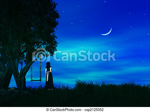 Wish Upon A Star Female Standing By A Tree Wishing Upon A
