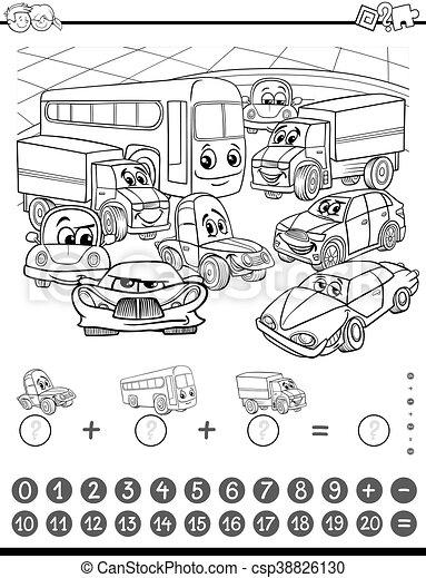 wiskunde, kleuren, pagina, activiteit - csp38826130