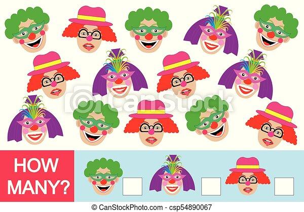 wiskundig, velen, spel, clowns?, hoe, getallen, leren, children. - csp54890067