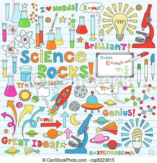 wissenschaft, vektor, abbildung, doodles - csp8223815