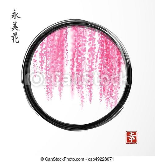 Gemälde clipart  Vektoren Illustration von wisteria, go-hua, gezeichnet, tinte, zen ...