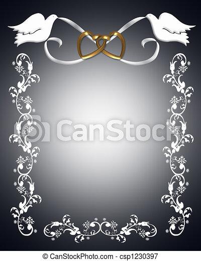 wit huwelijk, duiven, uitnodiging - csp1230397