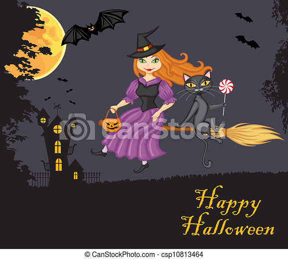 Witch and a cat on a broom - csp10813464