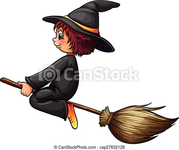 Witch and broom - csp27632128
