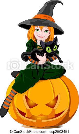 Witch and cat - csp2503451