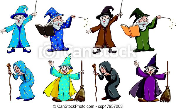 Witch and wizard with magic wand - csp47957203