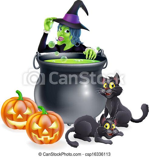 Witch Cartoon Halloween Scene - csp16336113