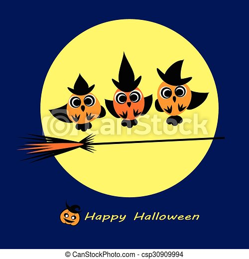 Witch caudron - Owls in witch costumes make witchcraft - one with broom stick, ohe with spoon. Cute halloween owls flat silhouettes for your design. Halloween card illustration. - csp30909994
