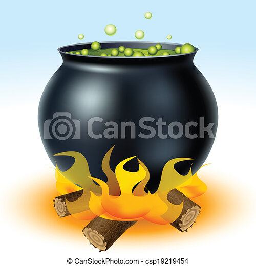 Witch cauldron on fire - csp19219454