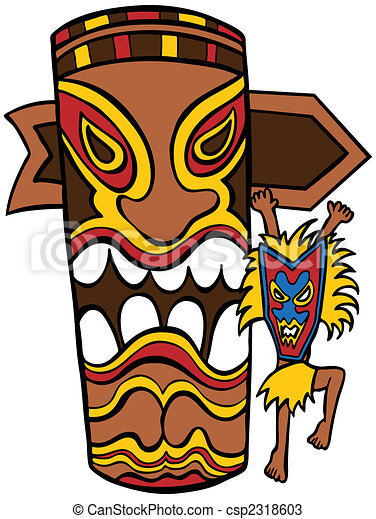 witch doctor tiki idol cartoon character and totem pole vectors rh canstockphoto com tiki clipart png tiki clipart vector
