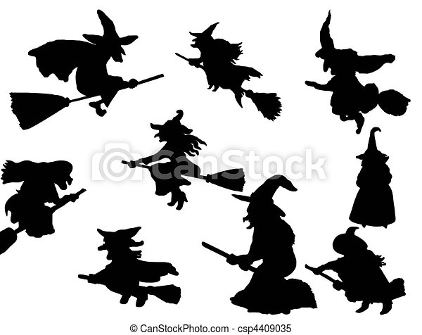witch flying on broom - csp4409035