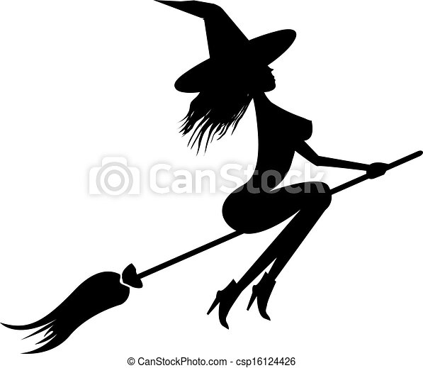 Witch flying on broom - csp16124426