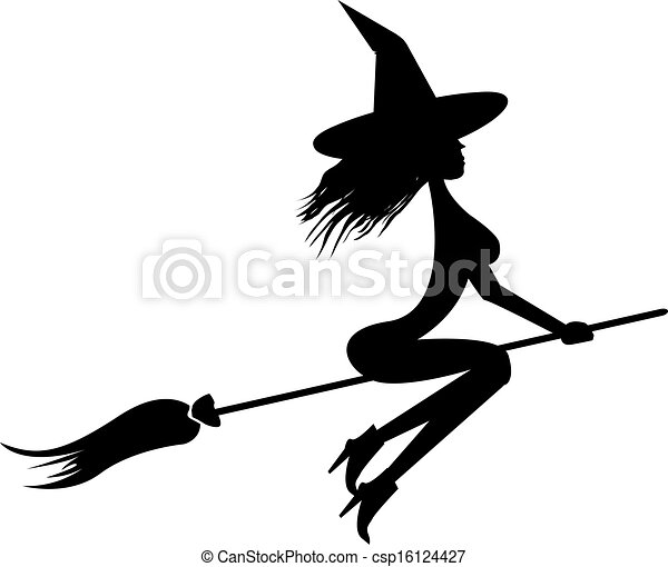 Witch flying on broom - csp16124427