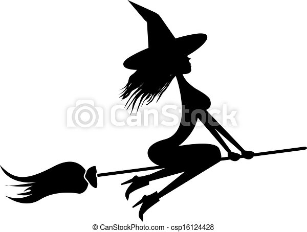 Witch flying on broom - csp16124428