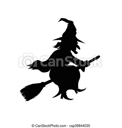 witch flying on broomstick vector template witch flying on