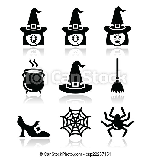 Witch halloween vector icons set. Black icons set for celebrating ...
