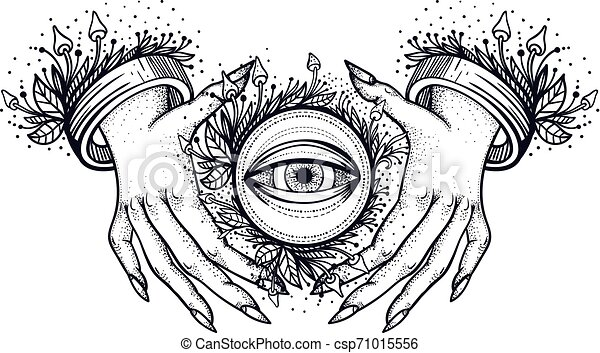 Witch Hands With All Seeing Third Eye Dotwork Tattoo Design Vector Intage Line Art Sketches Canstock