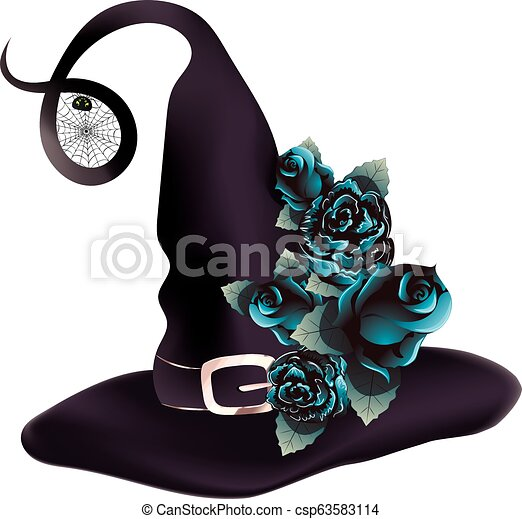 9b09a067962 Witch hat with blue roses. Dark purple witch hat decorated with with ...