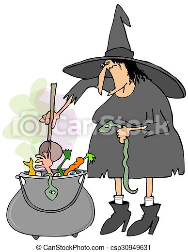 illustration depicting a halloween witch making soup in a large metal cauldron