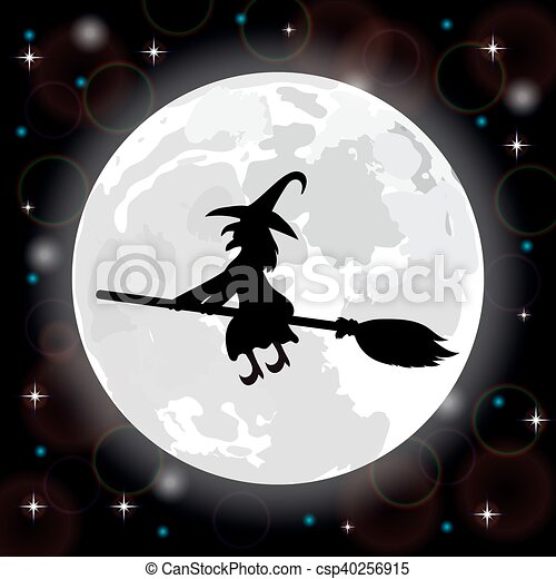 witch on a background of the full moon - csp40256915