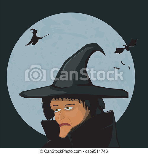 Witch on a background of the Moon - csp9511746