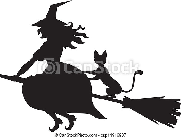 Witch on a broom and cat - csp14916907
