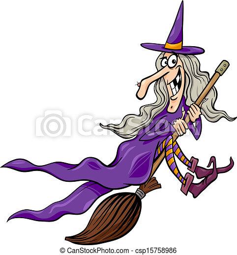 witch on broom cartoon illustration - csp15758986