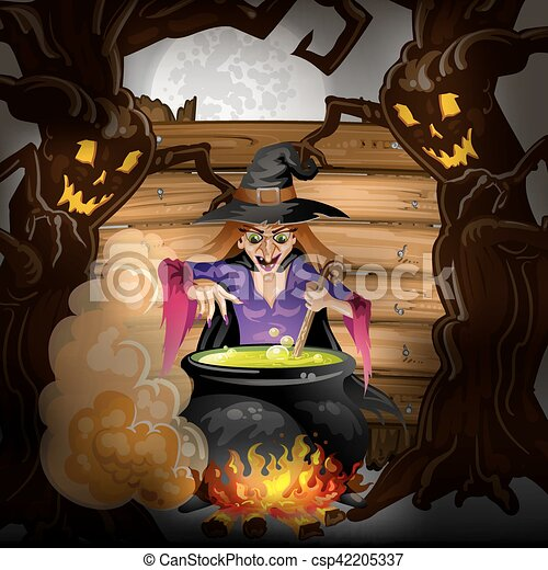 Witch preparing a potion - csp42205337