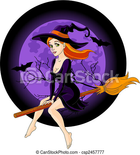 Witch riding a broom - csp2457777