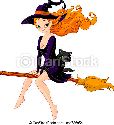 Witch riding a broom - csp7369541