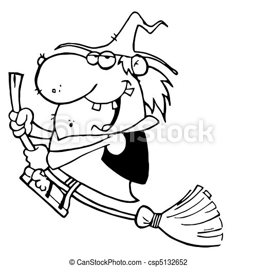 Witch Swooping By On Her Broom - csp5132652