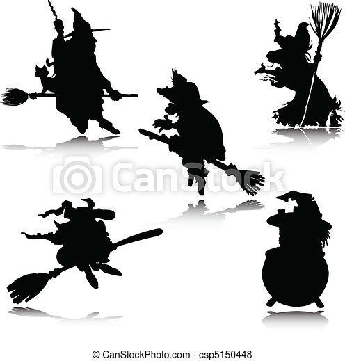 witch vector silhouettes - csp5150448