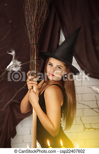 witch with a broom - csp22407602