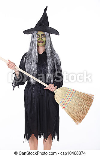 Witch with Broom - csp10468374