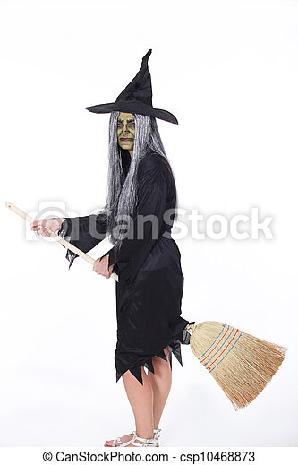 Witch with Broom - csp10468873
