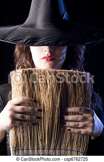 Witch with Broom - csp6762725