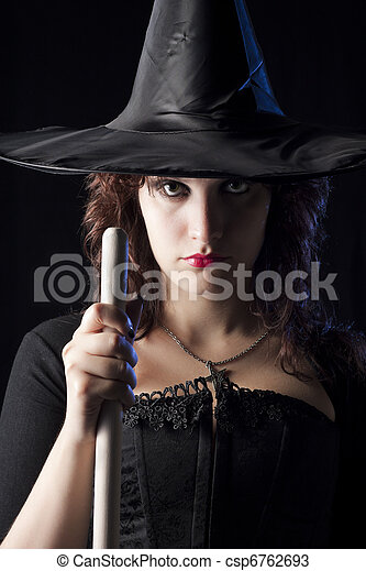 Witch with Broom - csp6762693