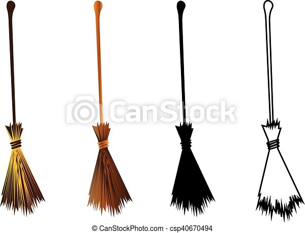 halloween witches broomstick witches broom illustration