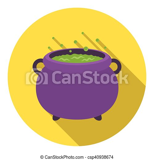 Witch's cauldron icon in flat style isolated on white background  Black and  white magic symbol stock vector illustration