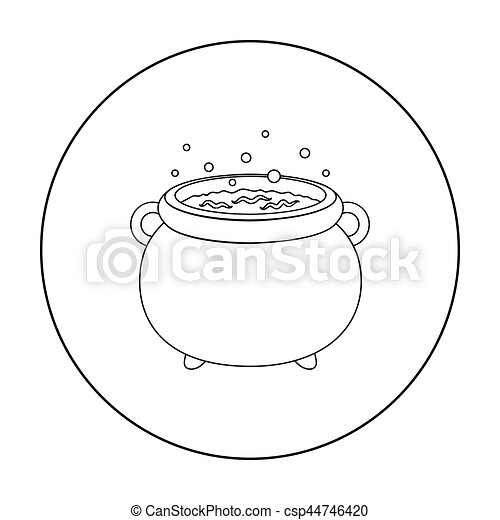Witch's cauldron icon in outline style isolated on white background  Black  and white magic symbol stock vector illustration