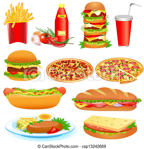 with a set of fast food and ketchup pitsey - csp13242669