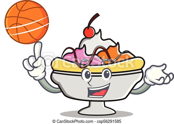 with basketball banana split character cartoon vector vector rh canstockphoto ca