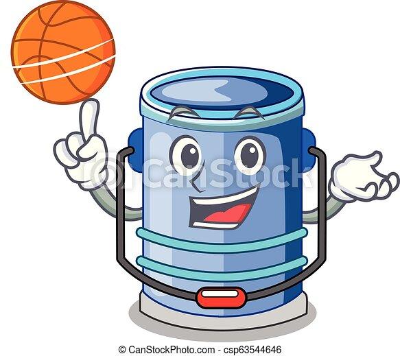 With basketball cylinder bucket Cartoon of for liquid - csp63544646