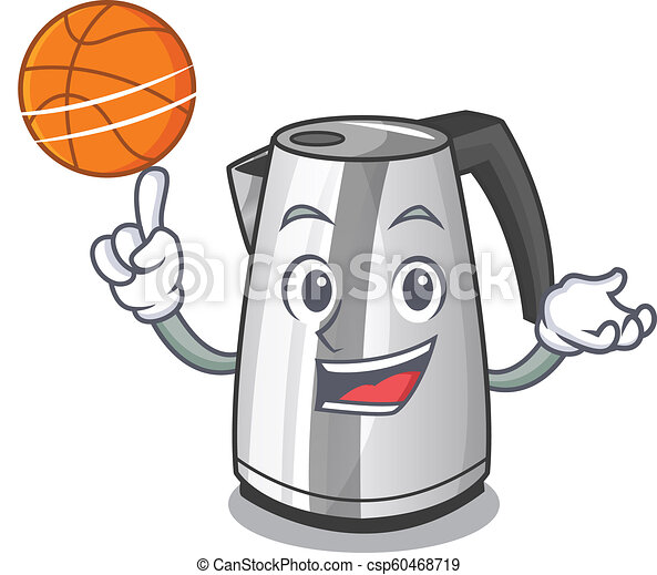 With basketball electric stainless steel kettle on character - csp60468719