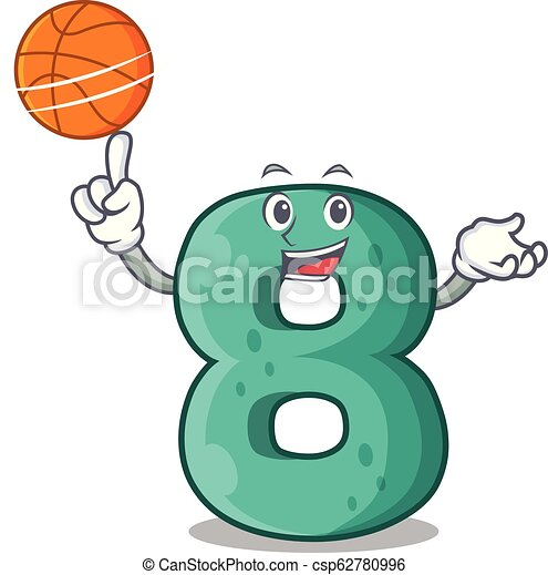 With basketball raster version cartoon shaped Number Eight - csp62780996
