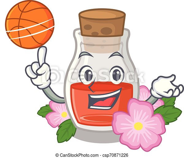 With basketball rosehip seed oil in cartoon bottle - csp70871226