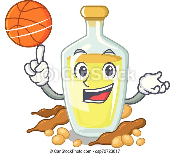With basketball soybean oil put in cartoon bottle - csp72723817